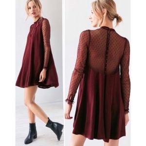 UO   Sheer Burgundy High-Neck Button Dress